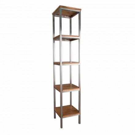 Mueble de baño columna en teca y acero con 4 estantes abiertos - Tamburino