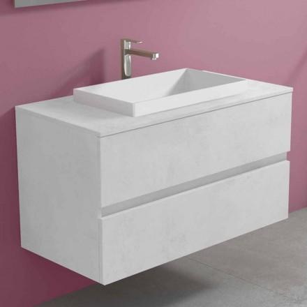Mueble de baño suspendido con lavabo encastrado, diseño moderno - Casimira