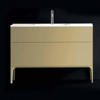baño con lavabo móvil en 120x85x46cm ámbar lacado de madera, fabricado en Italia