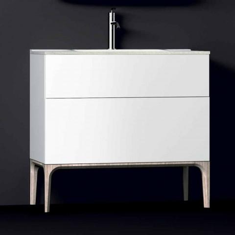 baño moderno móvil con fregadero integrado ámbar, resina y laca