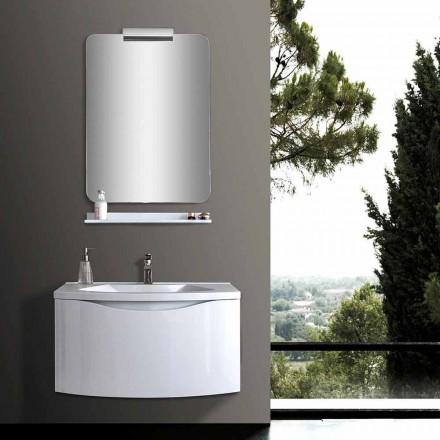 Mueble de baño suspendido moderno blanco con lavabo, estante y espejo LED - Michele