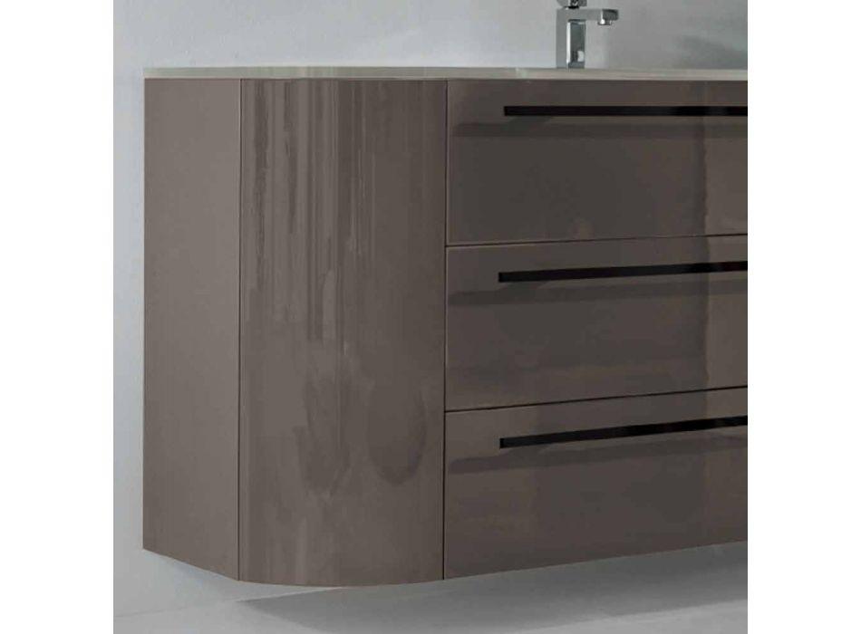 cajones montados en la pared del cuarto de baño 3 + 2 puertas de madera feliz, el fregadero integrado