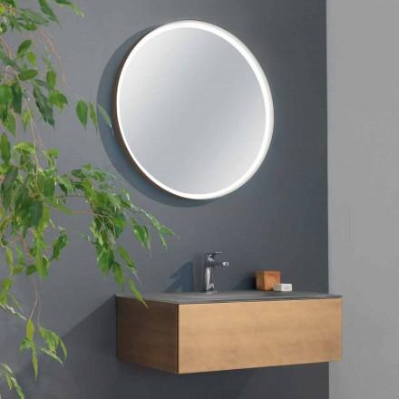 Mueble de baño suspendido con cajón y lavabo integrado y espejo redondo - Renga