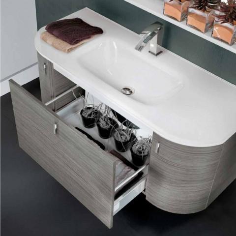 baño montado en la pared con fregadero 1cestone + madera de roble 2ante feliz