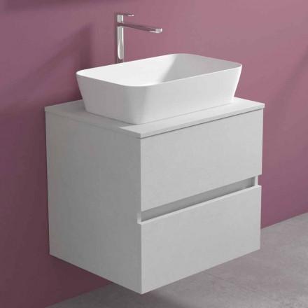Mueble de baño suspendido con lavabo sobre encimera rectangular, diseño moderno - Dumbo