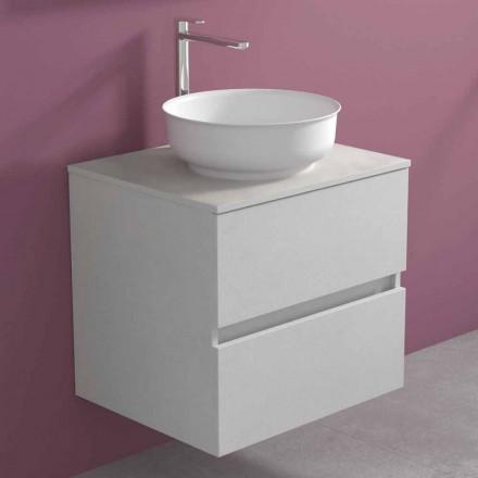 Mueble de baño suspendido con lavabo redondo sobre encimera, diseño moderno - Dumbo