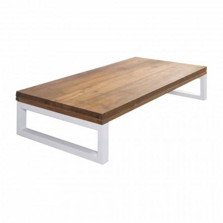 Mueble de baño suspendido en teca con toallero en Hi Macs® White - Saverno