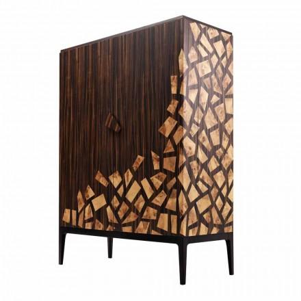 Grilli Zarafa Mueble bar de diseño con 2 puertas hecho en Italia en madera de ébano