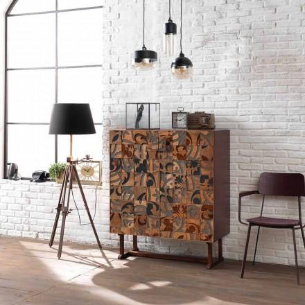 Mueble de diseño con dos puertas en madera de mango, Cellara.