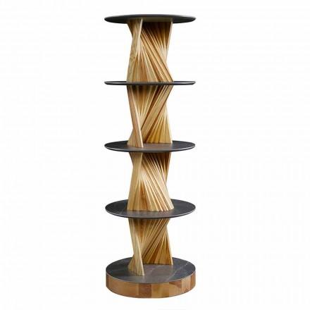 Gabinete de madera de lujo con estantes redondos de gres Made in Italy - Aspide