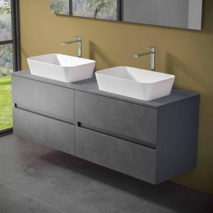 Mueble de baño suspendido con lavabo doble sobre encimera - Mandrillo