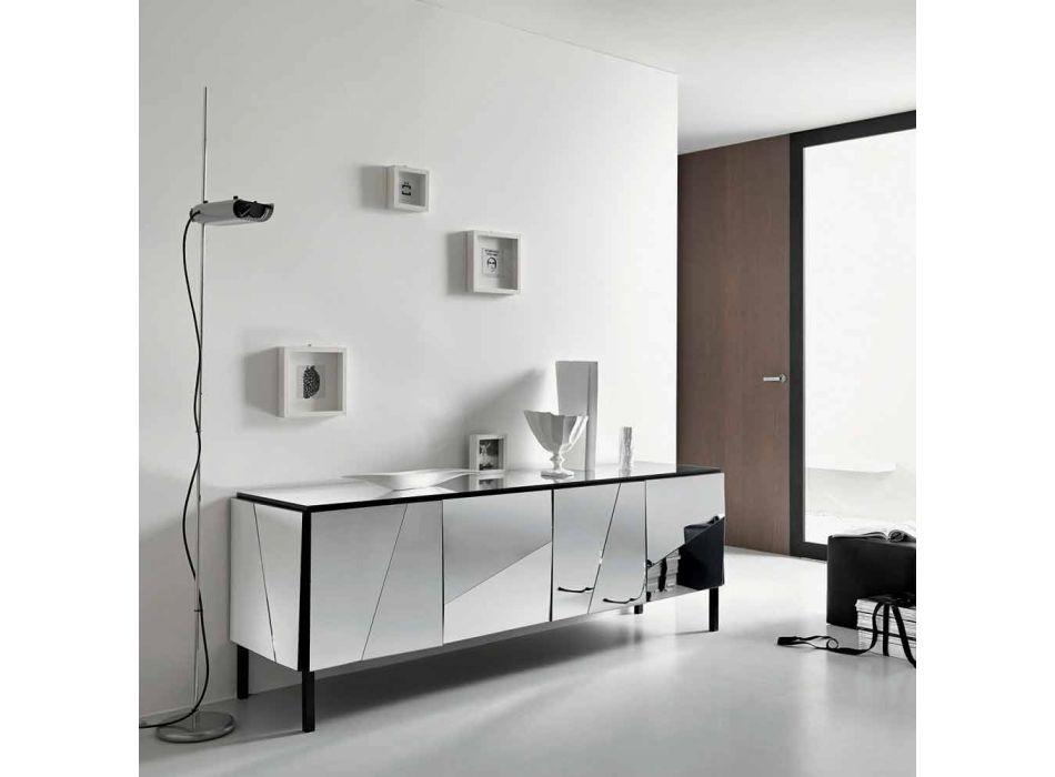 Aparador para salón en madera negra mate y tapa de cristal espejo Liscio - Senese