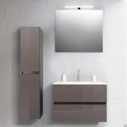Mueble de baño 80 cm, Lavabo, Mirron y Columna Cruda - Becky
