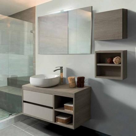 Mueble de baño 100 cm, espejo, lavabo y estante - Becky
