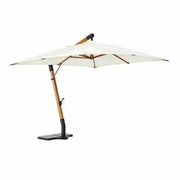 Paraguas de exterior color crudo en poliéster y madera 3x4 Homemotion - Passmore