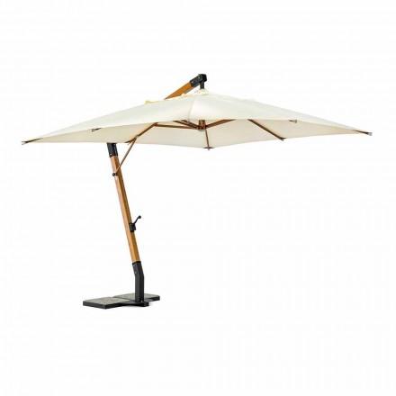 Paraguas de exterior en madera y poliéster crudo 3x4, Homemotion - Passmore