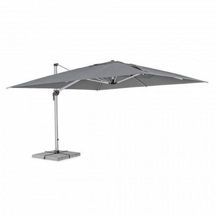 Sombrilla de jardín 4x4 con tela gris oscuro y estructura anodizada - Daniel
