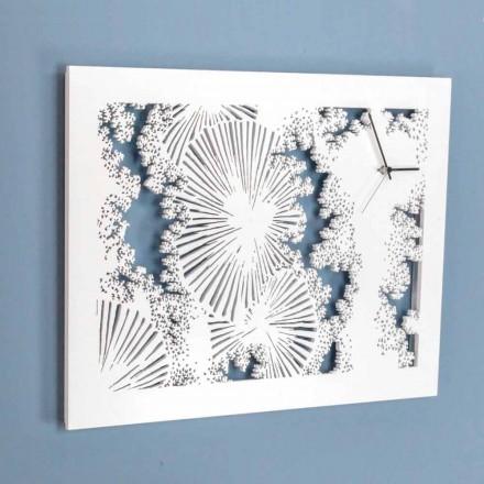 Reloj de pared de diseño en madera blanca o paloma rectangular - Artificio