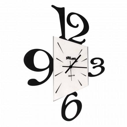 Reloj de pared de diseño en hierro negro o aluminio Made in Italy - Prospi
