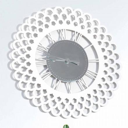 Reloj de pared de madera blanca de diseño floral grande y moderno - Gerbera
