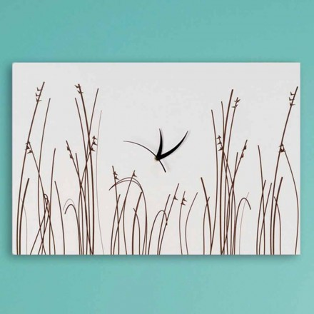 Reloj de pared rectangular de madera blanca de diseño moderno - Filigrana