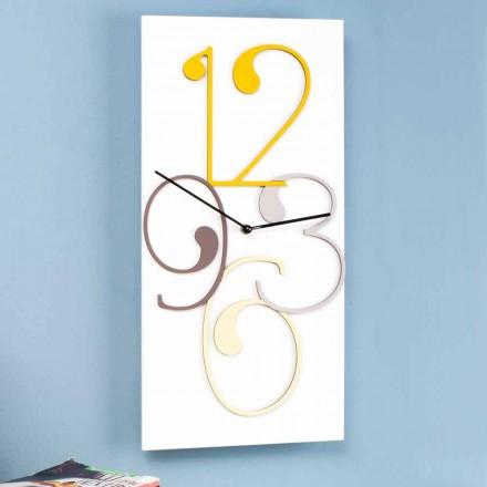 Reloj de pared de color y madera blanca rectangular de diseño moderno - Matemáticas