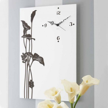 Reloj de pared rectangular moderno en madera de diseño blanco decorado - Croco