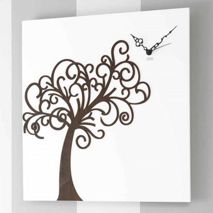 Reloj de pared cuadrado blanco de diseño de madera con árbol - Alberoeden