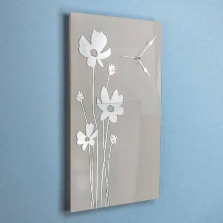 Reloj de pared rectangular de diseño marrón y plexiglás - Silene