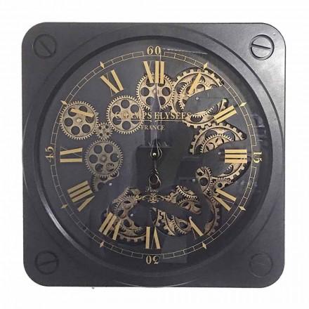 Reloj de pared de diseño vintage en acero con forma cuadrada Homemotion - Curzio