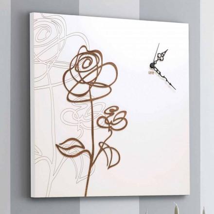 Reloj de pared cuadrado de madera blanca con decoración rosa moderna - Galanthus