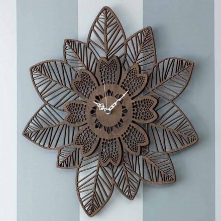 Reloj de pared en madera clara u oscura con un diseño floral moderno - Aquilegia