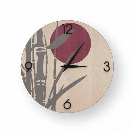 Reloj de pared Atina en madera decorada, diseño hecho en Italia.