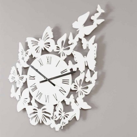 Reloj de pared de madera de color Diseño moderno decorado con mariposas - Papilio