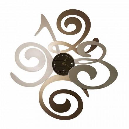 Reloj de diseño moderno con espejo de pared en hierro hecho en Italia - Aciano