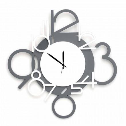 Reloj de pared de diseño grande y moderno en madera blanca y gris - Dígito