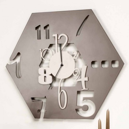 Reloj de pared de madera de diseño hexagonal moderno grande - Poliedro