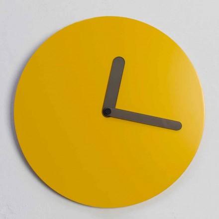 Reloj de pared moderno en diseño redondo de madera ocre hecho en Italia - Amaltea