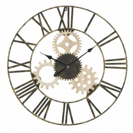 Reloj de Pared Redondo Diámetro 70 cm Diseño Moderno en Hierro y MDF - Jutta