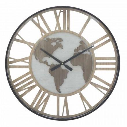 Reloj de Pared Redondo Diametro 60 cm Moderno en Hierro y MDF - Arnela
