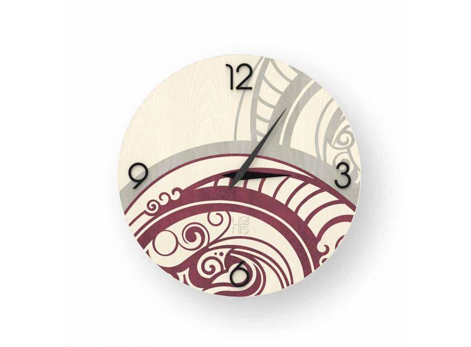 Adro reloj de pared de diseño abstracto de madera, hecho en Italia