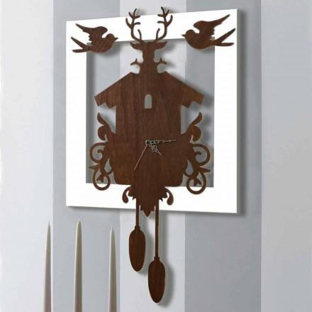 Reloj de pared de diseño moderno en madera decorada oscura y blanca - Fairy Tale