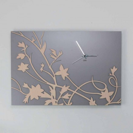 Reloj de pared de diseño rectangular gris moderno en madera decorada - galio