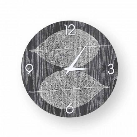 Reloj de pared en madera decorada de Arce, hecho en Italia.