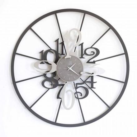Moderno reloj de pared circular de hierro en dos tonos hecho en Italia - Calipso