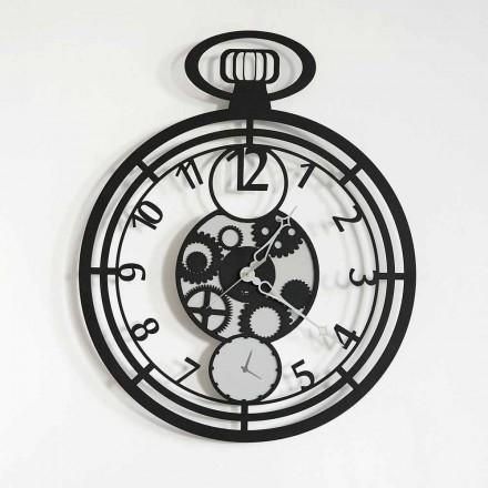 Moderno reloj de pared circular en hierro coloreado hecho en Italia - cereza