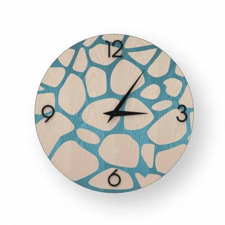 Moderno reloj de pared en madera morolo, hecho en Italia.