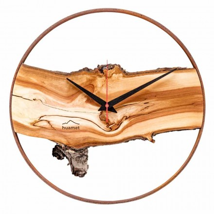 Reloj de pared redondo en madera maciza de manzana Made in Italy - Sirmione