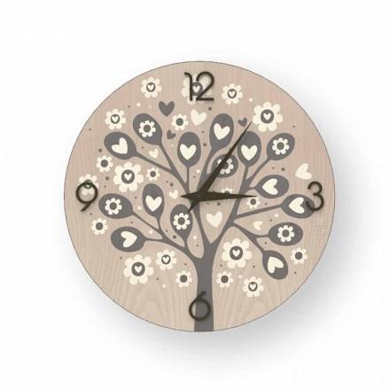 Reloj de pared de diseño moderno Tree Of Heart de madera