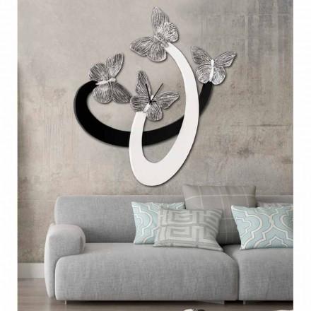 Reloj de pared de diseño marfil / negro hecho a mano en Italia Zenia